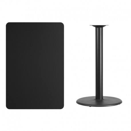 MFO 30'' x 45'' Rectangular Black Laminate Table Top with 24'' Round Bar Height Table Base