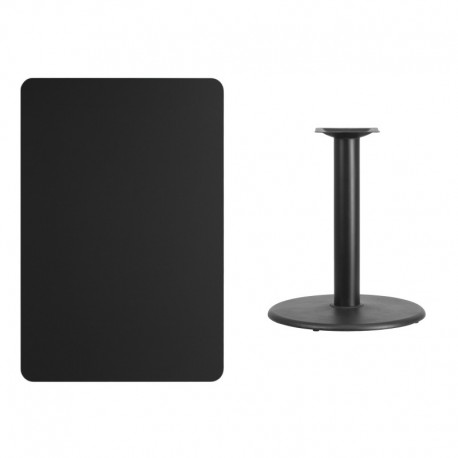 MFO 30'' x 45'' Rectangular Black Laminate Table Top with 24'' Round Table Height Base