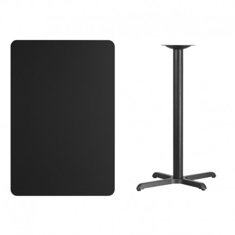 MFO 30'' x 45'' Rectangular Black Laminate Table Top with 22'' x 30'' Bar Height Table Base