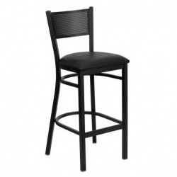 MFO Black Grid Back Metal Restaurant Bar Stool - Black Vinyl Seat
