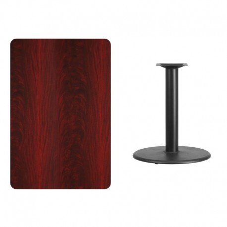 MFO 30'' x 45'' Rectangular Mahogany Laminate Table Top with 24'' Round Table Height Base