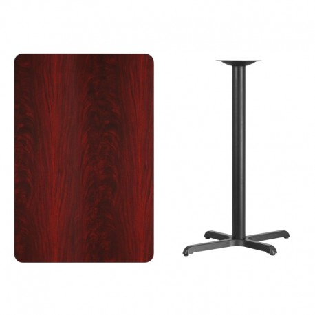 MFO 30'' x 45'' Rectangular Mahogany Laminate Table Top with 22'' x 30'' Bar Height Table Base
