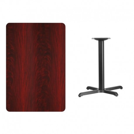 MFO 30'' x 45'' Rectangular Mahogany Laminate Table Top with 22'' x 30'' Table Height Base