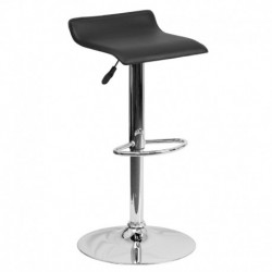 MFO Contemporary Black Vinyl Adjustable Height Bar Stool with Chrome Base