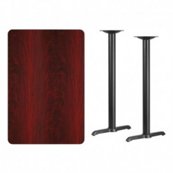 MFO 30'' x 45'' Rectangular Mahogany Laminate Table Top with 5'' x 22'' Bar Height Table Bases