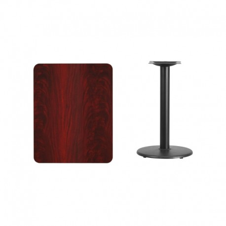 MFO 24'' x 30'' Rectangular Mahogany Laminate Table Top with 18'' Round Table Height Base