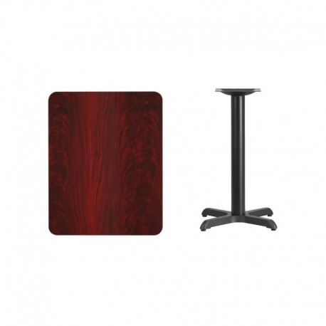MFO 24'' x 30'' Rectangular Mahogany Laminate Table Top with 22'' x 22'' Table Height Base