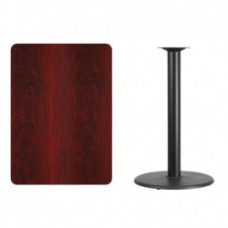 MFO 30'' x 42'' Rectangular Mahogany Laminate Table Top with 24'' Round Bar Height Table Base