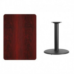 MFO 30'' x 42'' Rectangular Mahogany Laminate Table Top with 24'' Round Table Height Base
