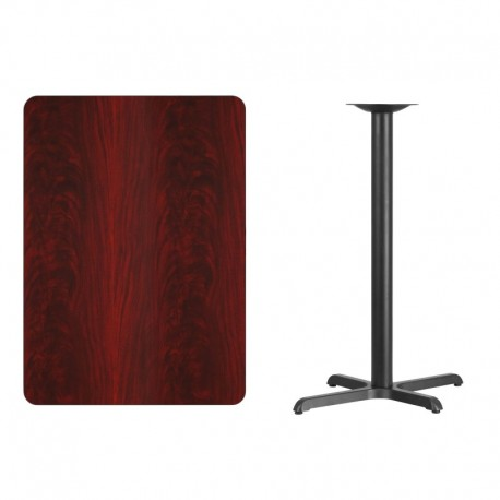 MFO 30'' x 42'' Rectangular Mahogany Laminate Table Top with 22'' x 30'' Bar Height Table Base