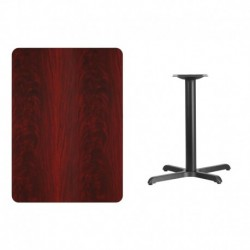 MFO 30'' x 42'' Rectangular Mahogany Laminate Table Top with 22'' x 30'' Table Height Base