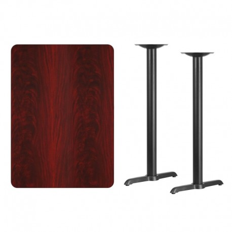MFO 30'' x 42'' Rectangular Mahogany Laminate Table Top with 5'' x 22'' Bar Height Table Bases