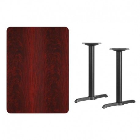 MFO 30'' x 42'' Rectangular Mahogany Laminate Table Top with 5'' x 22'' Table Height Bases