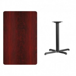 MFO 30'' x 48'' Rectangular Mahogany Laminate Table Top with 22'' x 30'' Table Height Base