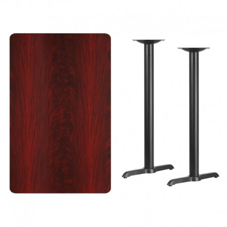 MFO 30'' x 48'' Rectangular Mahogany Laminate Table Top with 5'' x 22'' Bar Height Table Bases