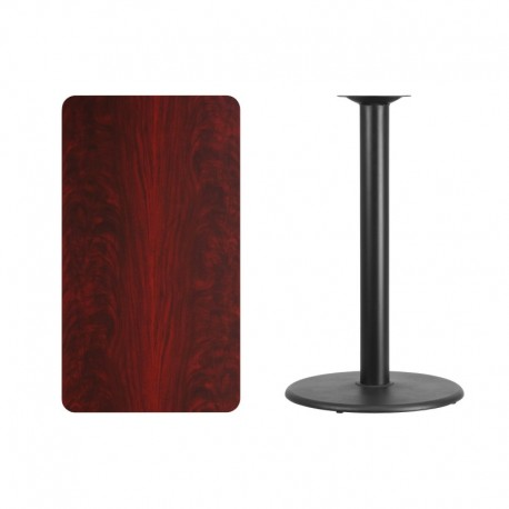 MFO 24'' x 42'' Rectangular Mahogany Laminate Table Top with 24'' Round Bar Height Table Base