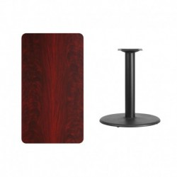 MFO 24'' x 42'' Rectangular Mahogany Laminate Table Top with 24'' Round Table Height Base