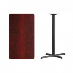 MFO 24'' x 42'' Rectangular Mahogany Laminate Table Top with 22'' x 30'' Bar Height Table Base