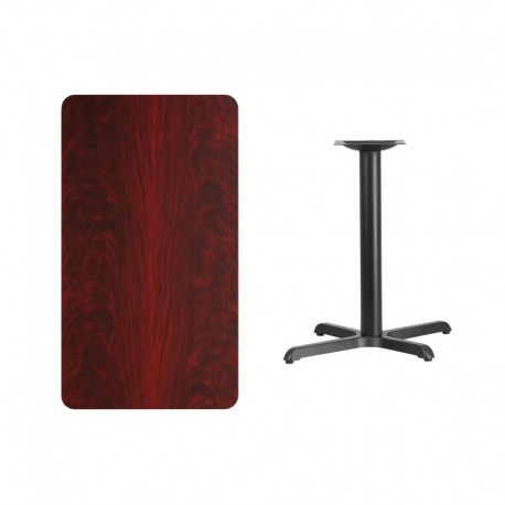 MFO 24'' x 42'' Rectangular Mahogany Laminate Table Top with 22'' x 30'' Table Height Base