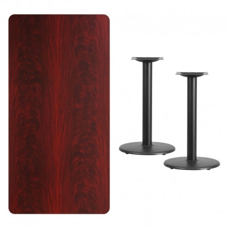 MFO 30'' x 60'' Rectangular Mahogany Laminate Table Top with 18'' Round Table Height Bases