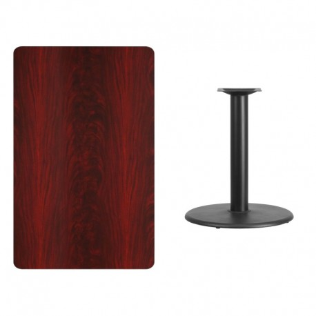 MFO 30'' x 48'' Rectangular Mahogany Laminate Table Top with 24'' Round Table Height Base