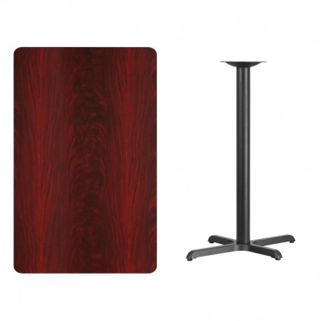MFO 30'' x 48'' Rectangular Mahogany Laminate Table Top with 22'' x 30'' Bar Height Table Base