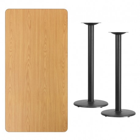 MFO 30'' x 60'' Rectangular Natural Laminate Table Top with 18'' Round Bar Height Table Bases