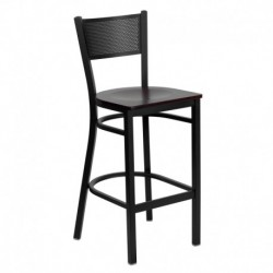 MFO Black Grid Back Metal Restaurant Bar Stool - Mahogany Wood Seat