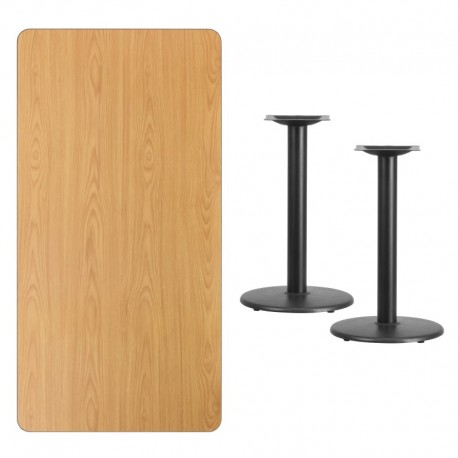 MFO 30'' x 60'' Rectangular Natural Laminate Table Top with 18'' Round Table Height Bases