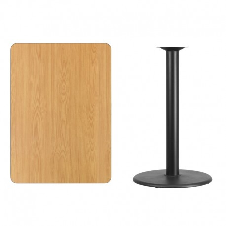 MFO 30'' x 42'' Rectangular Natural Laminate Table Top with 24'' Round Bar Height Table Base