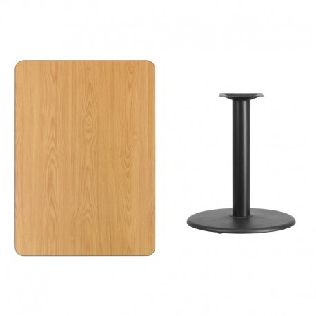 MFO 30'' x 42'' Rectangular Natural Laminate Table Top with 24'' Round Table Height Base
