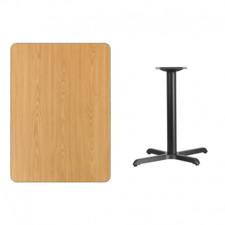 MFO 30'' x 42'' Rectangular Natural Laminate Table Top with 22'' x 30'' Table Height Base