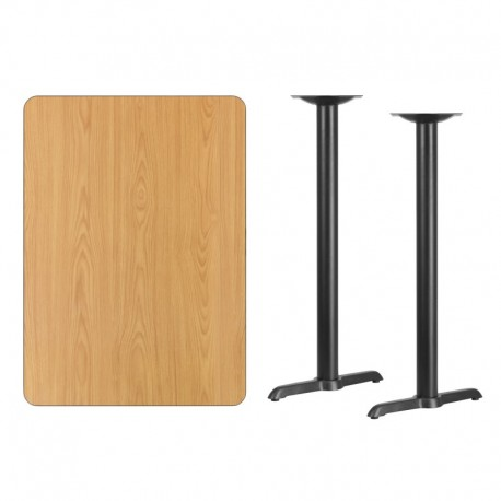 MFO 30'' x 42'' Rectangular Natural Laminate Table Top with 5'' x 22'' Bar Height Table Bases