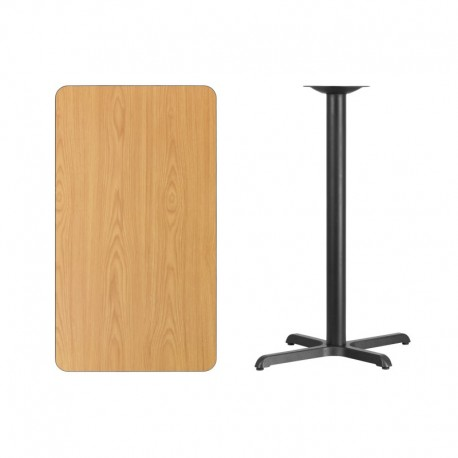 MFO 24'' x 42'' Rectangular Natural Laminate Table Top with 22'' x 30'' Bar Height Table Base