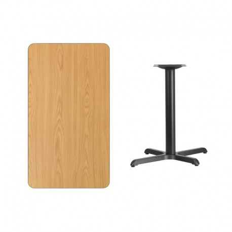 MFO 24'' x 42'' Rectangular Natural Laminate Table Top with 22'' x 30'' Table Height Base