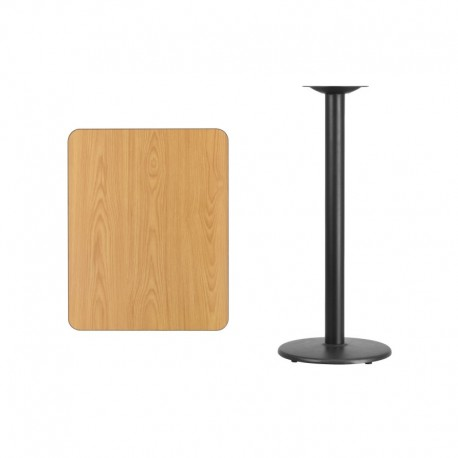 MFO 24'' x 30'' Rectangular Natural Laminate Table Top with 18'' Round Bar Height Table Base