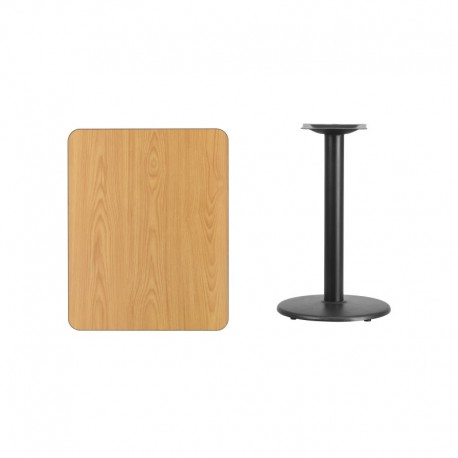MFO 24'' x 30'' Rectangular Natural Laminate Table Top with 18'' Round Table Height Base