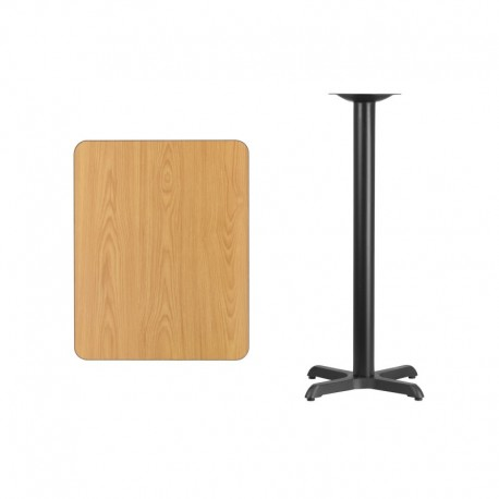 MFO 24'' x 30'' Rectangular Natural Laminate Table Top with 22'' x 22'' Bar Height Table Base