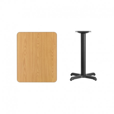 MFO 24'' x 30'' Rectangular Natural Laminate Table Top with 22'' x 22'' Table Height Base