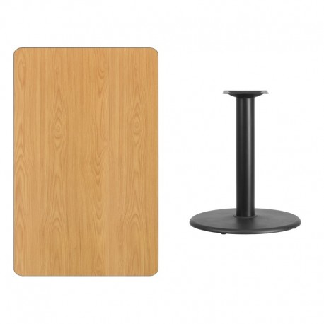 MFO 30'' x 48'' Rectangular Natural Laminate Table Top with 24'' Round Table Height Base