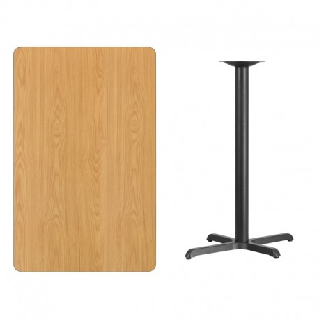 MFO 30'' x 48'' Rectangular Natural Laminate Table Top with 22'' x 30'' Bar Height Table Base