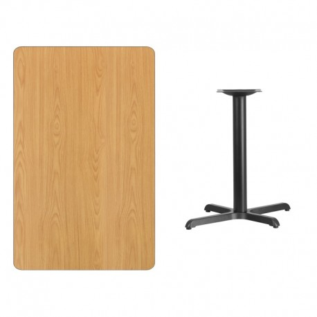 MFO 30'' x 48'' Rectangular Natural Laminate Table Top with 22'' x 30'' Table Height Base
