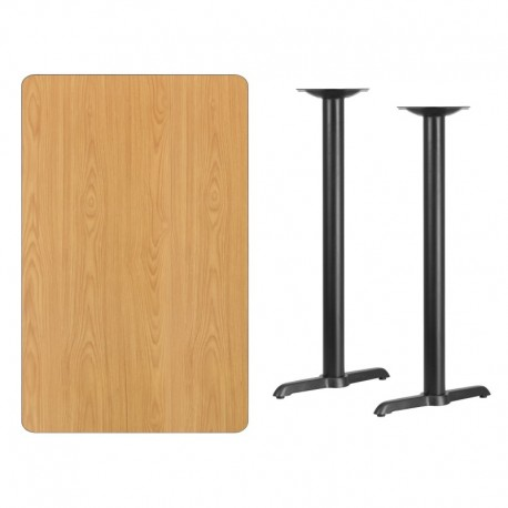 MFO 30'' x 48'' Rectangular Natural Laminate Table Top with 5'' x 22'' Bar Height Table Bases