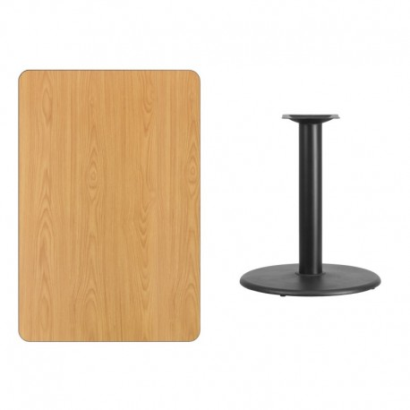 MFO 30'' x 45'' Rectangular Natural Laminate Table Top with 24'' Round Table Height Base