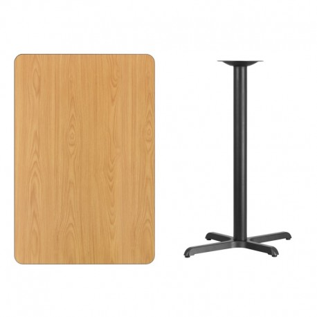 MFO 30'' x 45'' Rectangular Natural Laminate Table Top with 22'' x 30'' Bar Height Table Base