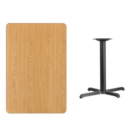 MFO 30'' x 45'' Rectangular Natural Laminate Table Top with 22'' x 30'' Table Height Base