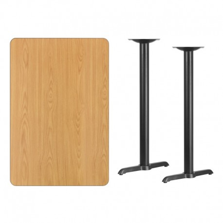 MFO 30'' x 45'' Rectangular Natural Laminate Table Top with 5'' x 22'' Bar Height Table Bases
