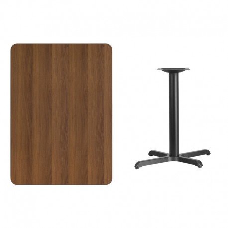 MFO 30'' x 42'' Rectangular Walnut Laminate Table Top with 22'' x 30'' Table Height Base