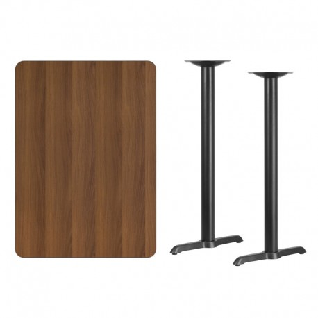 MFO 30'' x 42'' Rectangular Walnut Laminate Table Top with 5'' x 22'' Bar Height Table Bases