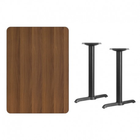 MFO 30'' x 42'' Rectangular Walnut Laminate Table Top with 5'' x 22'' Table Height Bases